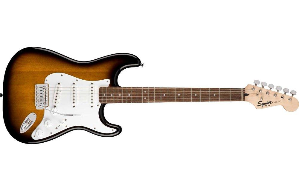 Squier Stratocaster Pack, Laurel Fingerboard, Brown Sunburst w/ Gig Bag & Frontman 10G