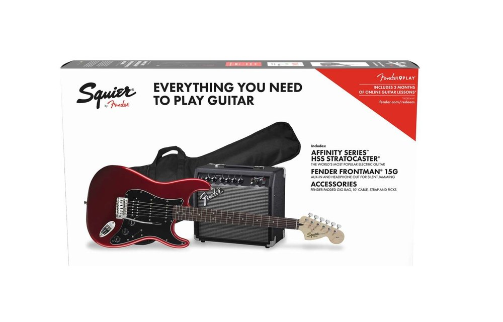 Squier Affinity Series Stratocaster HSS Pack, Laurel Fingerboard, Candy Apple Red w/ Gig Bag & Frontman 15G