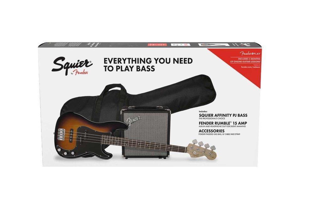 Squier Affinity Series Precision Bass PJ Pack, Laurel Fingerboard, Brown Sunburst w/ Gig Bag & Rumble 15