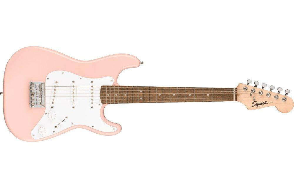 Squier Mini Stratocaster, Laurel Fingerboard, Shell Pink