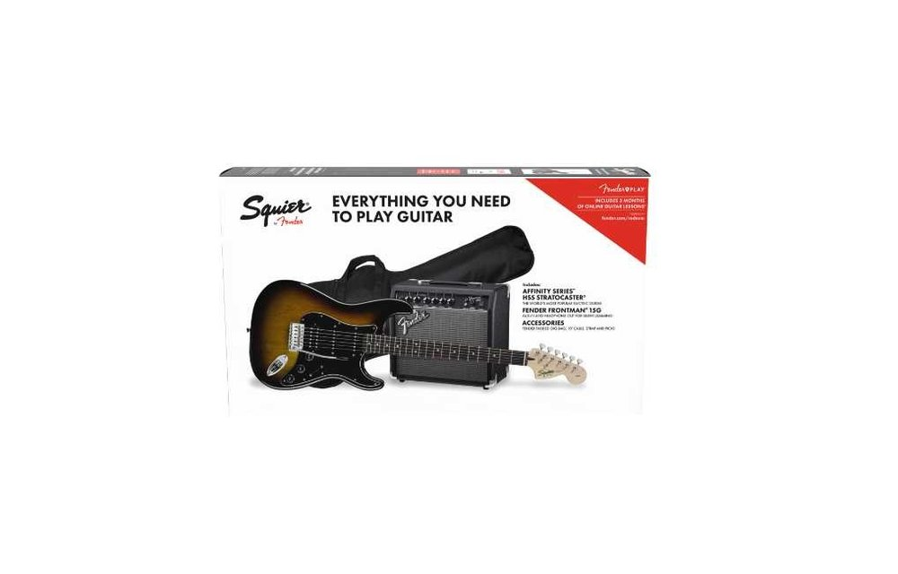 Squier Affinity Series Stratocaster HSS Pack, Laurel Fingerboard, Brown Sunburst w/ Gig Bag & Frontman 15G