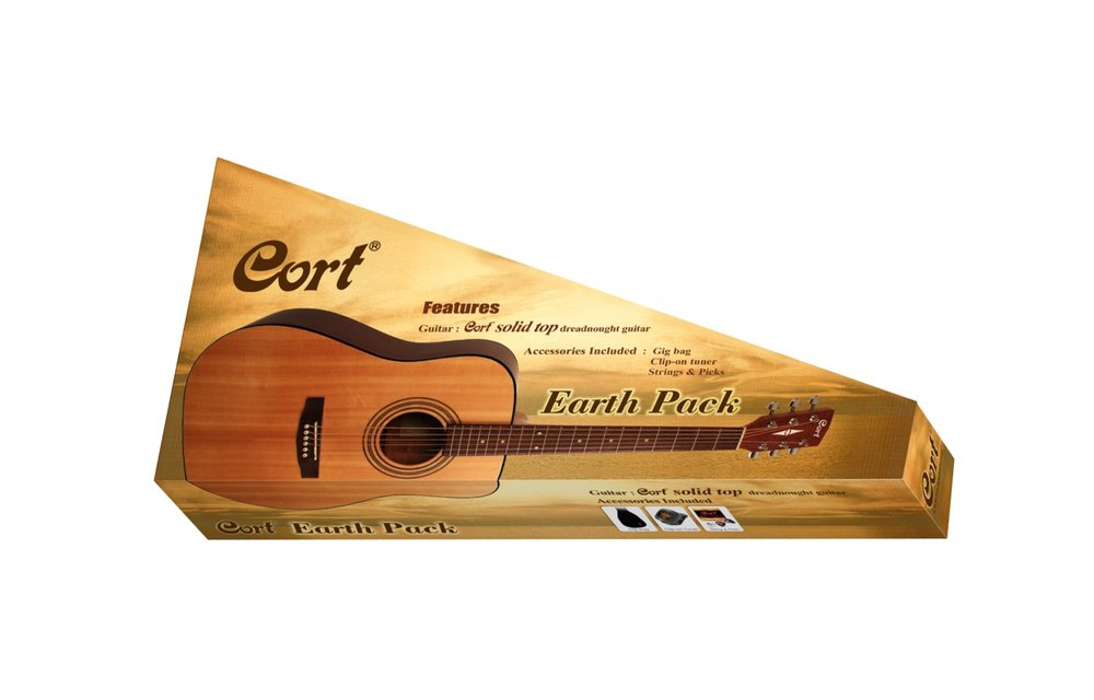 Cort Earth Pack - Cort Earth Open Pore Dreadnought Acoustic Guitar w/ Accessories