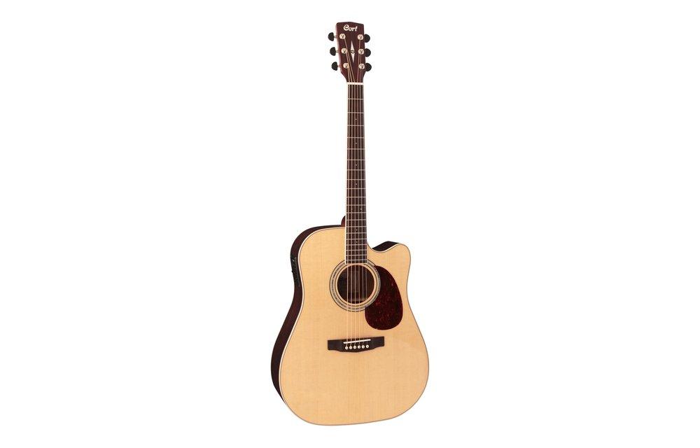 Cort MR710F Spruce/Mahogany Dreadnought Acoustic Guitar w/Cutaway, Open Pore Natural w/Hardcase