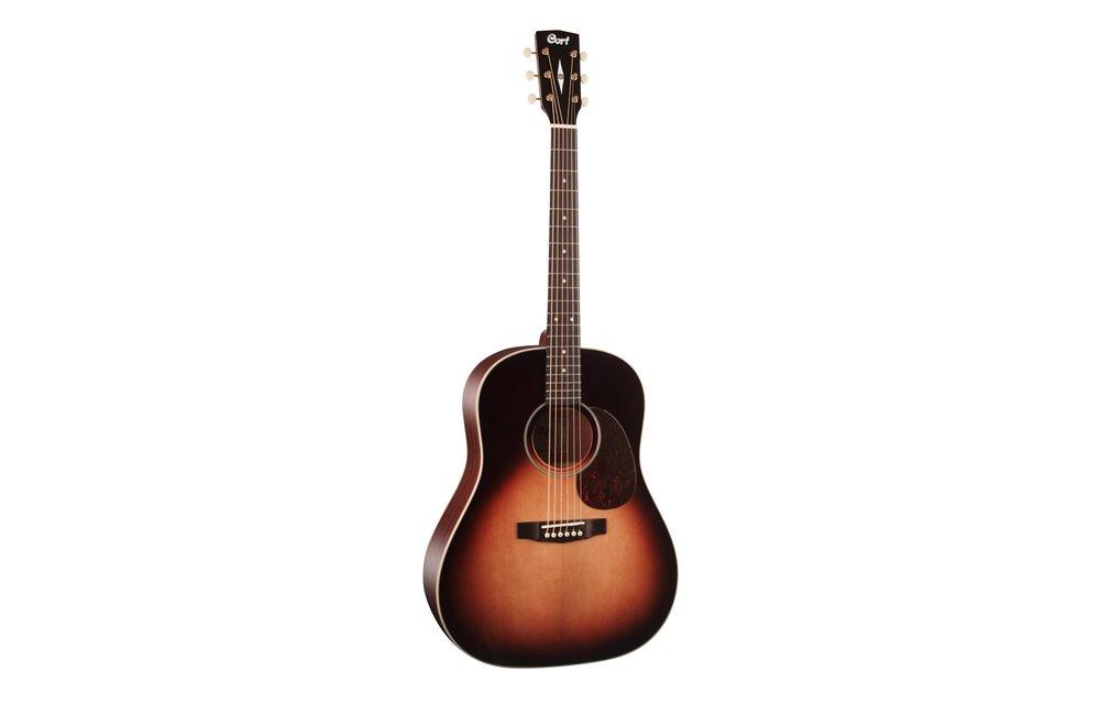 Cort 100SSF Sunburst Slope Shoulder Dreadnought Electric Acoustic Guitar
