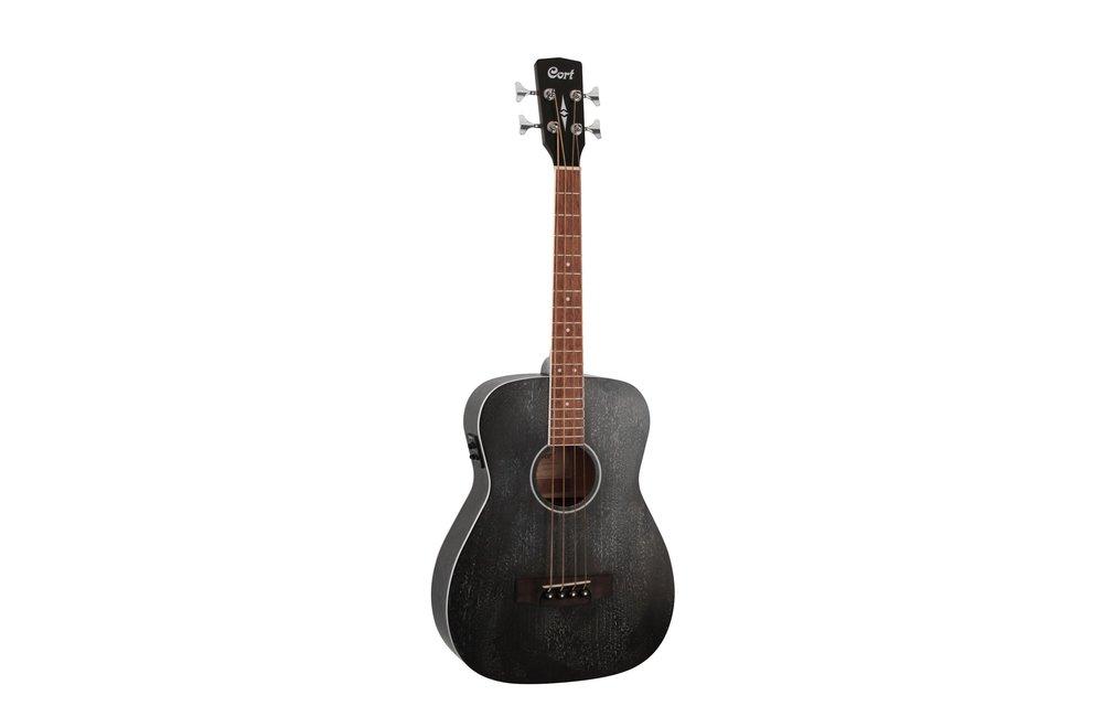 Cort AB590MF Acoustic Bass Guitar w/Gig Bag, Open Pore Black