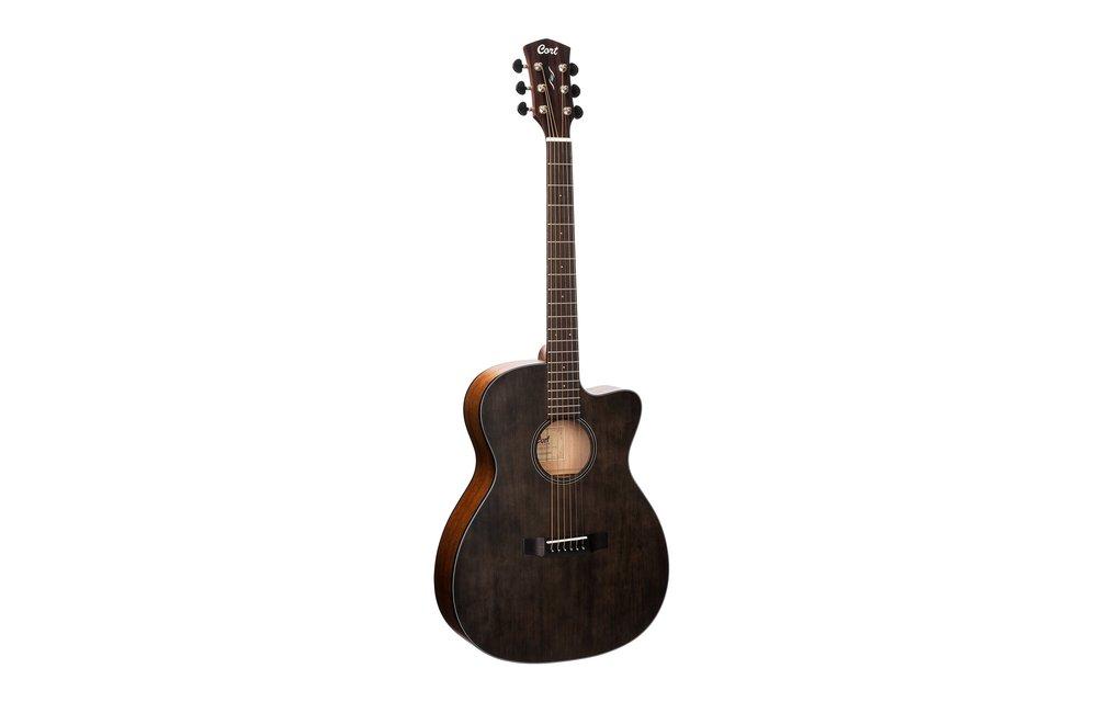 Cort Core-OC Spruce/Mahogany OM Size w/Cutaway, Electric Acoustic Guitar, Open Pore Trans Black