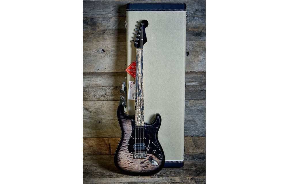 Fender Limited Edition American QMT Stratocaster HSS, Pale Moon Ebony Fingerboard, Transparent Black
