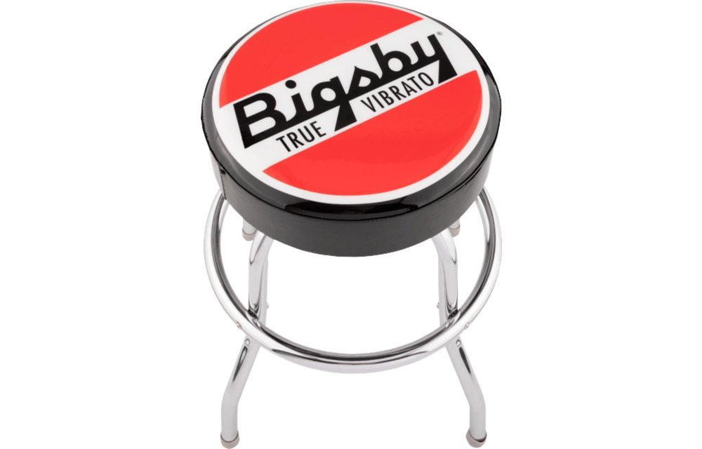 Bigsby Round Logo Barstool, Black, Red and White, 24''