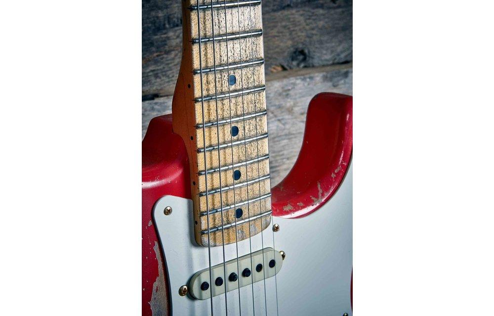 Fender Custom Shop Stratocaster, '56 Relic, Fiesta Red w/Gold Hardware, Maple Neck, Masterbuilt Dennis Galuszka
