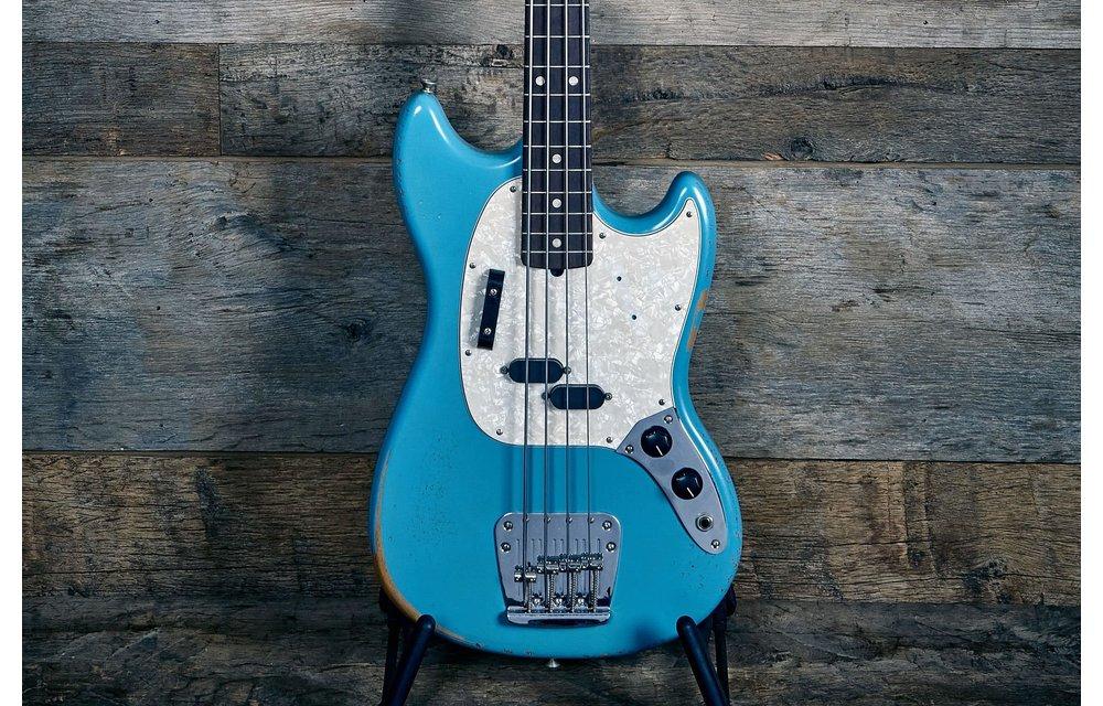 Fender JMJ Road Worn Mustang Bass Faded Daphne Blue - Used