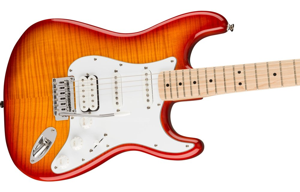 Squier Affinity Series Stratocaster FMT HSS, Maple Fingerboard, White Pickguard, Sienna Sunburst