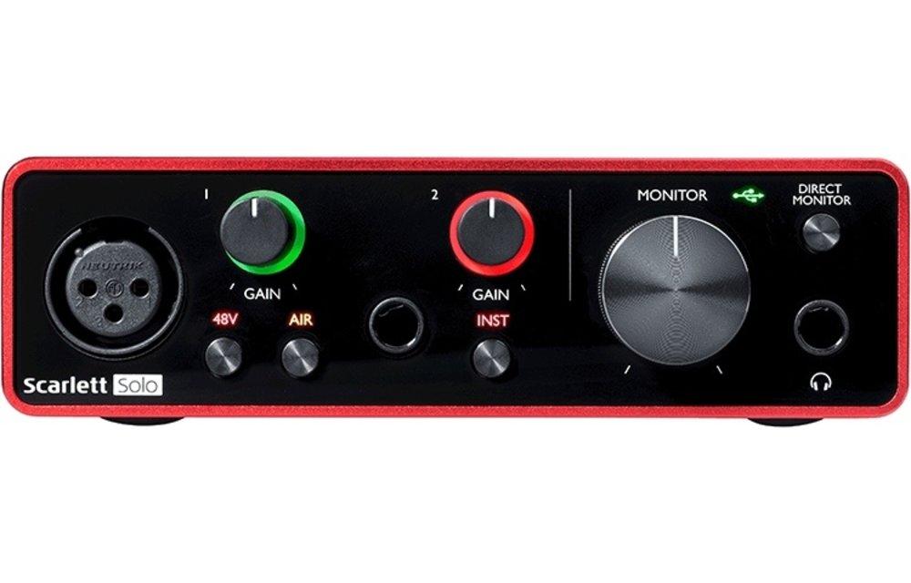 Focusrite Scarlett Solo (Gen 3) 2-In / 2-Out USB Audio Interface