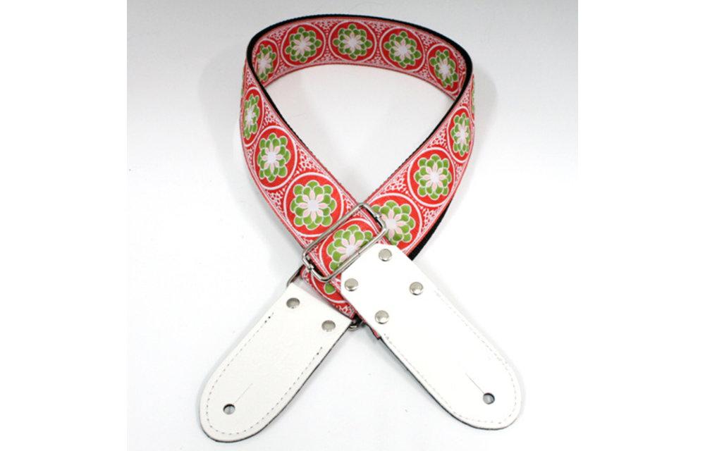 DSL Guitar Strap, Jacquard Weaving, Flower Green