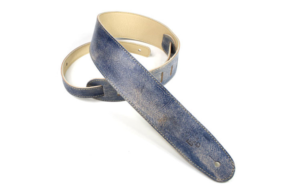 """DSL Guitar Strap, 2.5"""" Hand Dyed Leather, Blue"""