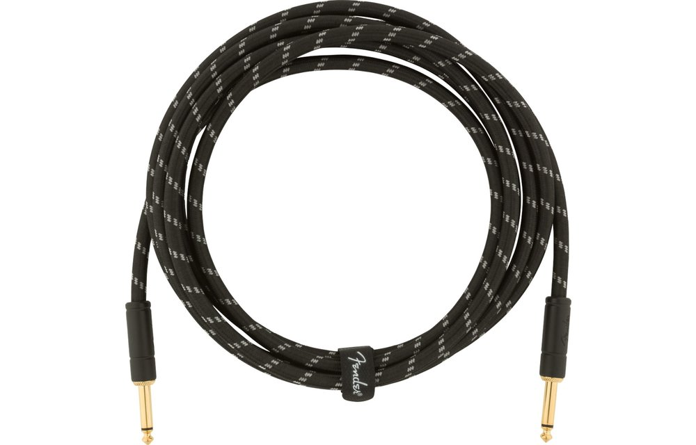 Fender Deluxe Series Instrument Cable, Straight/Straight, 10', Black Tweed