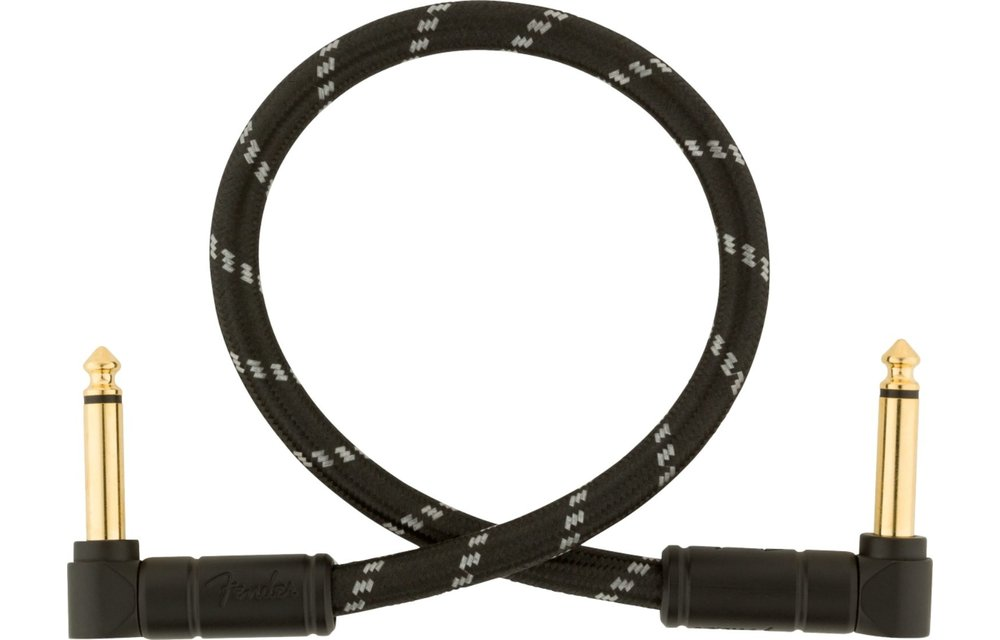 Fender Deluxe Series Instrument Cable, Angle/Angle, 1', Black Tweed