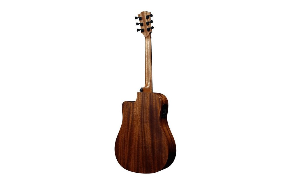 "Lâg HyVibe Tramontane THV10DCE: Solid Red Cedar/Mahogany Dreadnought Acoustic ""Smart"" Guitar w/Cutaway & Gig Bag"