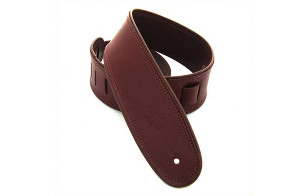 """DSL Guitar Strap, 2.5"""" Leather, Rolled Edge Maroon/Brown"""