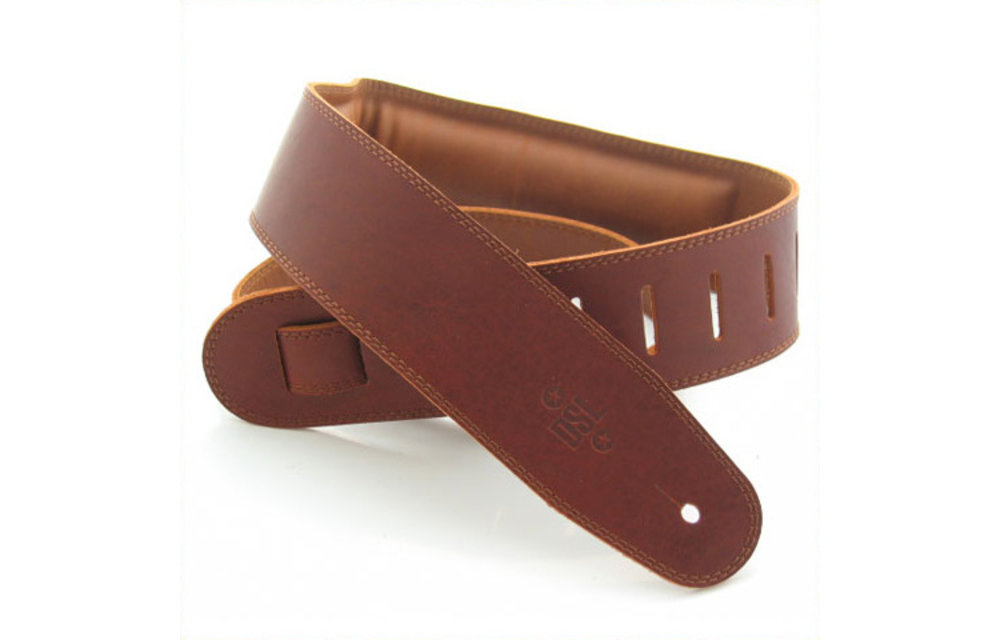 """DSL Guitar Strap, 2.5"""" Padded Garment Leather, Maroon/Brown"""