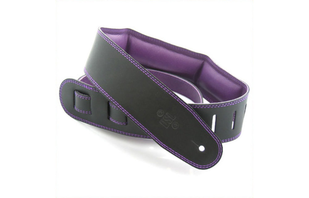 "DSL Guitar Strap, 2.5"" Padded Garment Leather, Black/Purple"