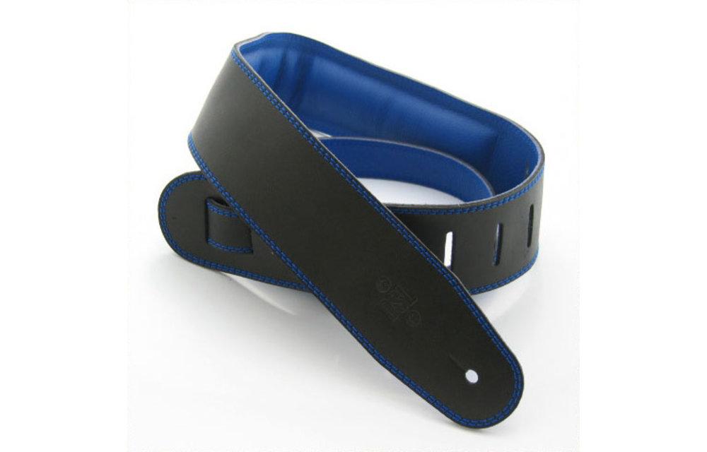 "DSL Guitar Strap, 2.5"" Padded Garment Leather, Black/Blue"
