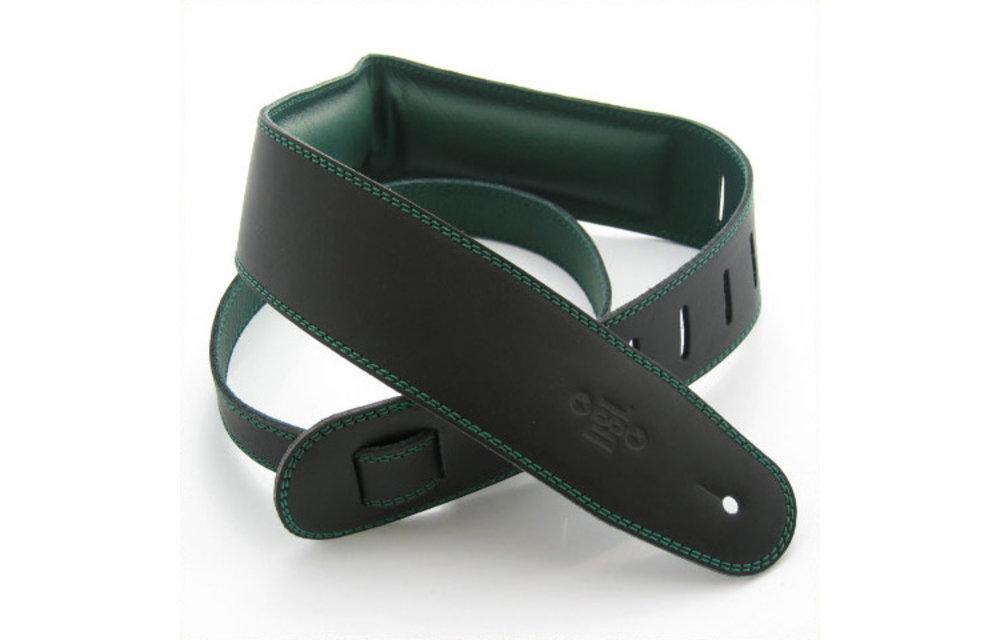 "DSL Guitar Strap, 2.5"" Padded Garment Leather, Black/Green"