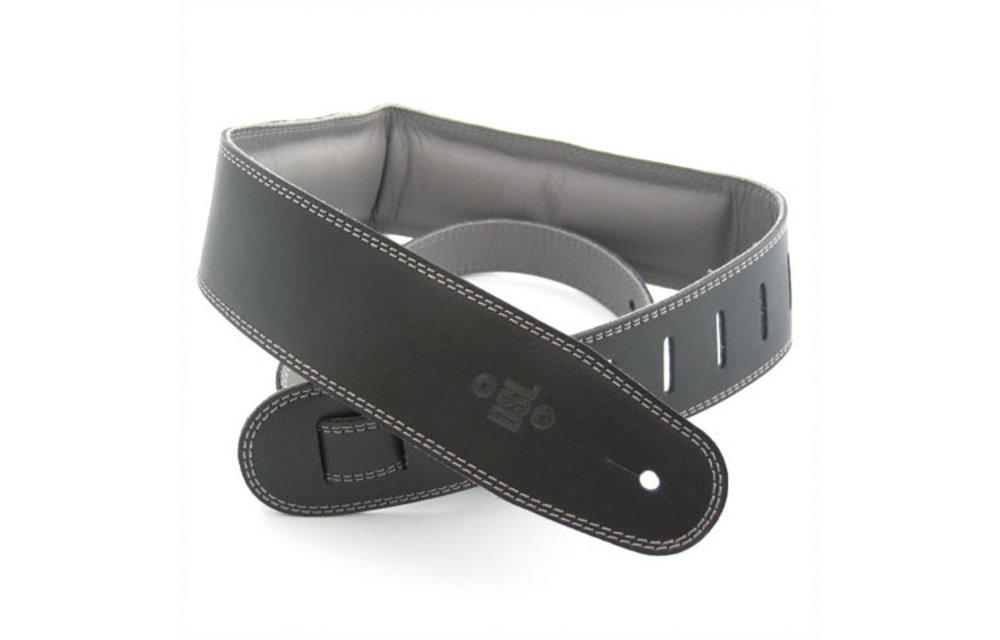 "DSL Guitar Strap, 2.5"" Padded Garment Leather, Black/Grey"