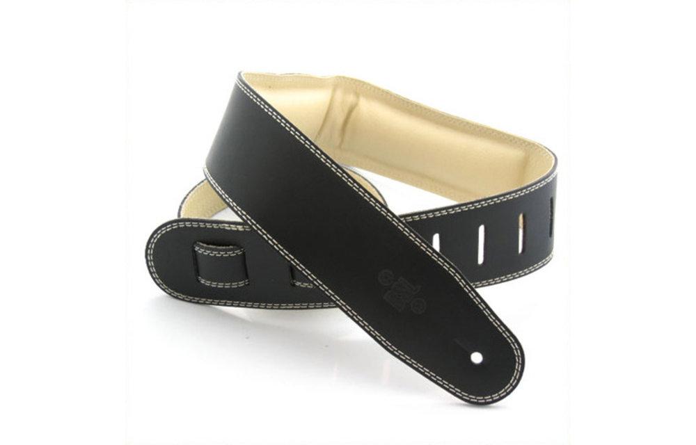 "DSL Guitar Strap, 2.5"" Padded Garment Leather, Black/Beige"