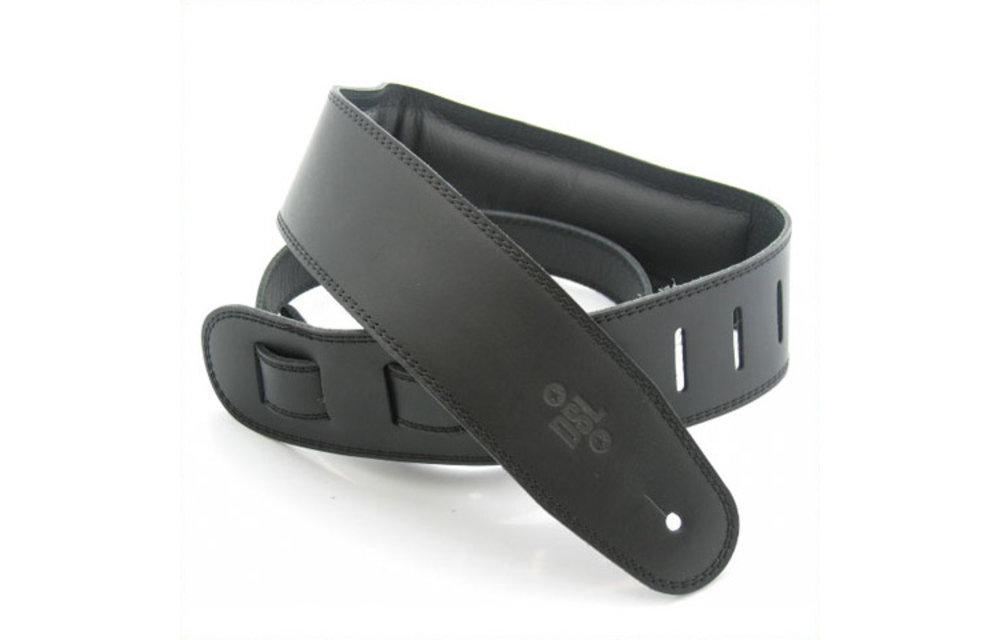 "DSL Guitar Strap, 2.5"" Padded Garment Leather, Black/Black"