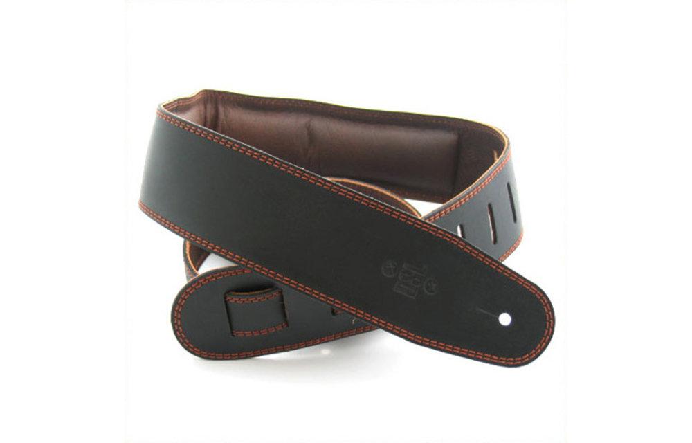 "DSL Guitar Strap, 2.5"" Padded Garment Leather, Black/Brown"