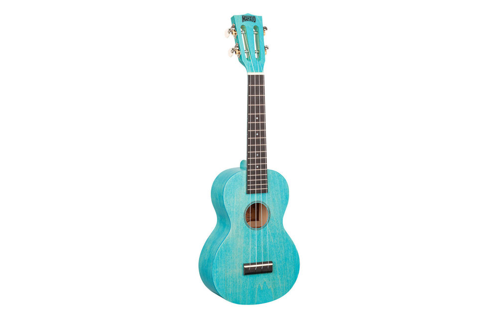 Mahalo Island Series Concert Ukulele, Aqua Blue w/Gig Bag