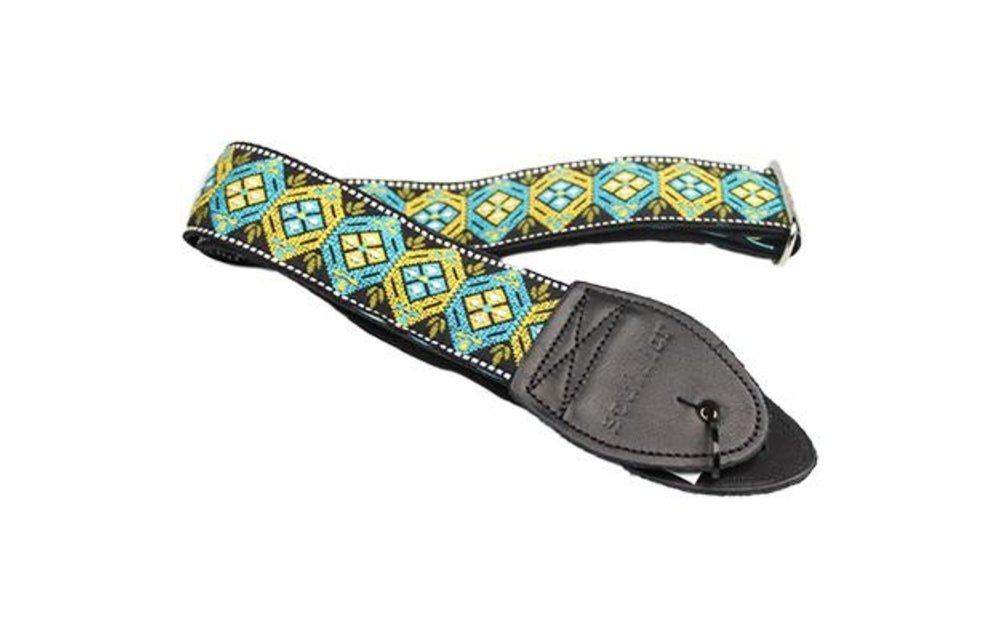 Souldier Guitar Strap, Honeycomb Yellow and Turquoise