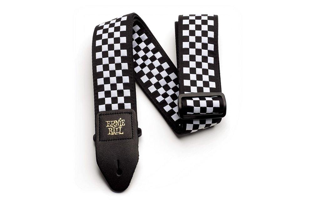 Ernie Ball Jacquard Guitar Strap, Black & White Checkered
