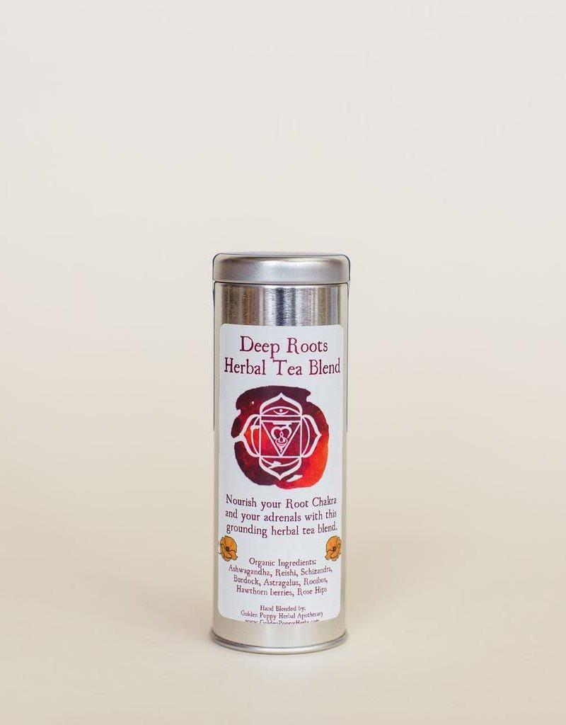 Golden Poppy Herbs Deep Roots Chakra Tea Tin