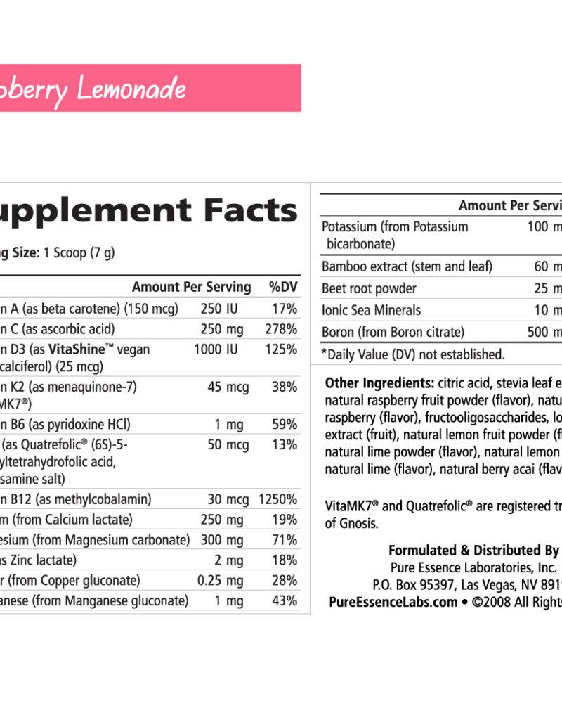 Golden Poppy Herbs Ionic Fizz Super D-K Calcium Plus, Large, Raz-Lemonade - Pure Essence Labs