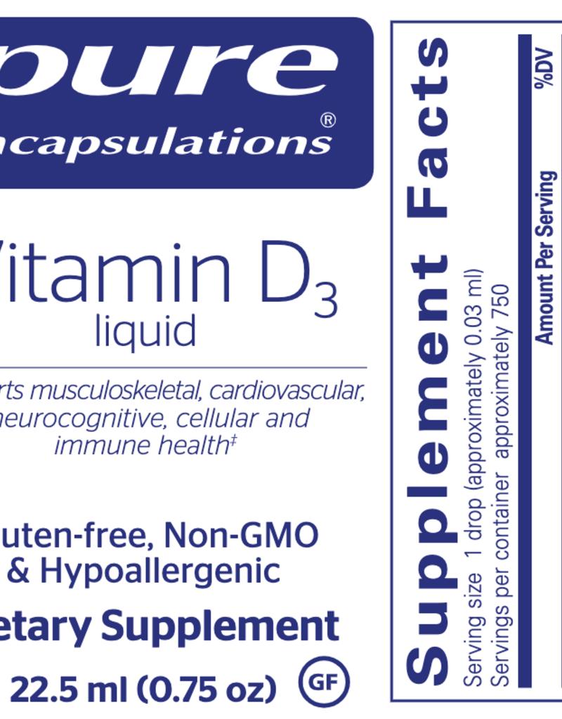 Golden Poppy Herbs Vitamin D3 Liquid 22.5mL, Pure Encapsulations