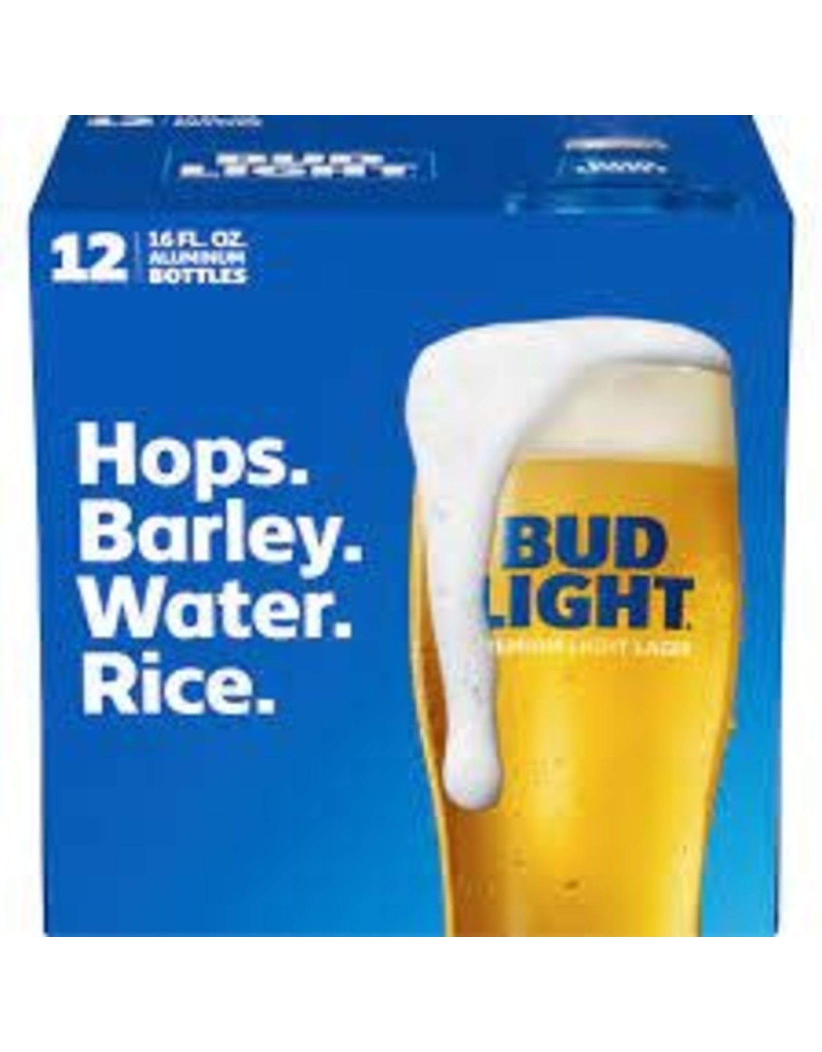 Bud Light 12 pack, 16oz Aluminum bottles