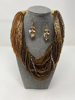 SKC MULTI STRAND BRONZE NECKLACE/EARRINGS