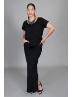 SARAH KUENYEFU 2PC LONG SKIRT WITH CAP SLEEVE PONTE TOP