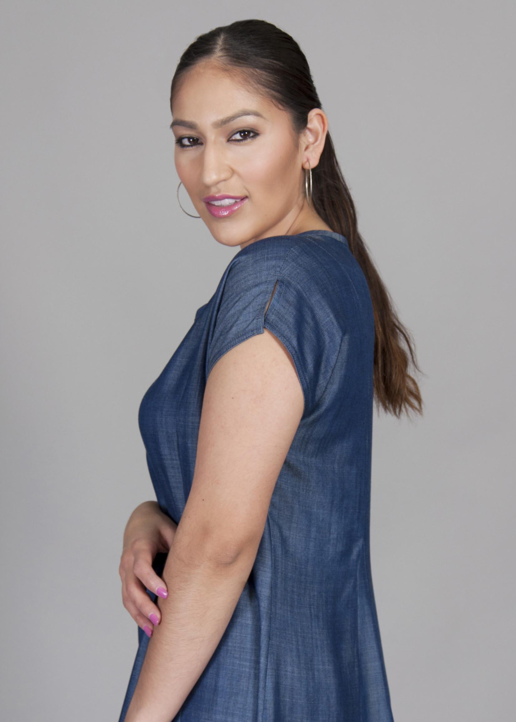 SARAH KUENYEFU MID-LENGTH INSERT  DENIM DRESS