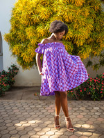 SARAH KUENYEFU AFRICAN PRINT OFF SHOULDER TUNIC/DRESS