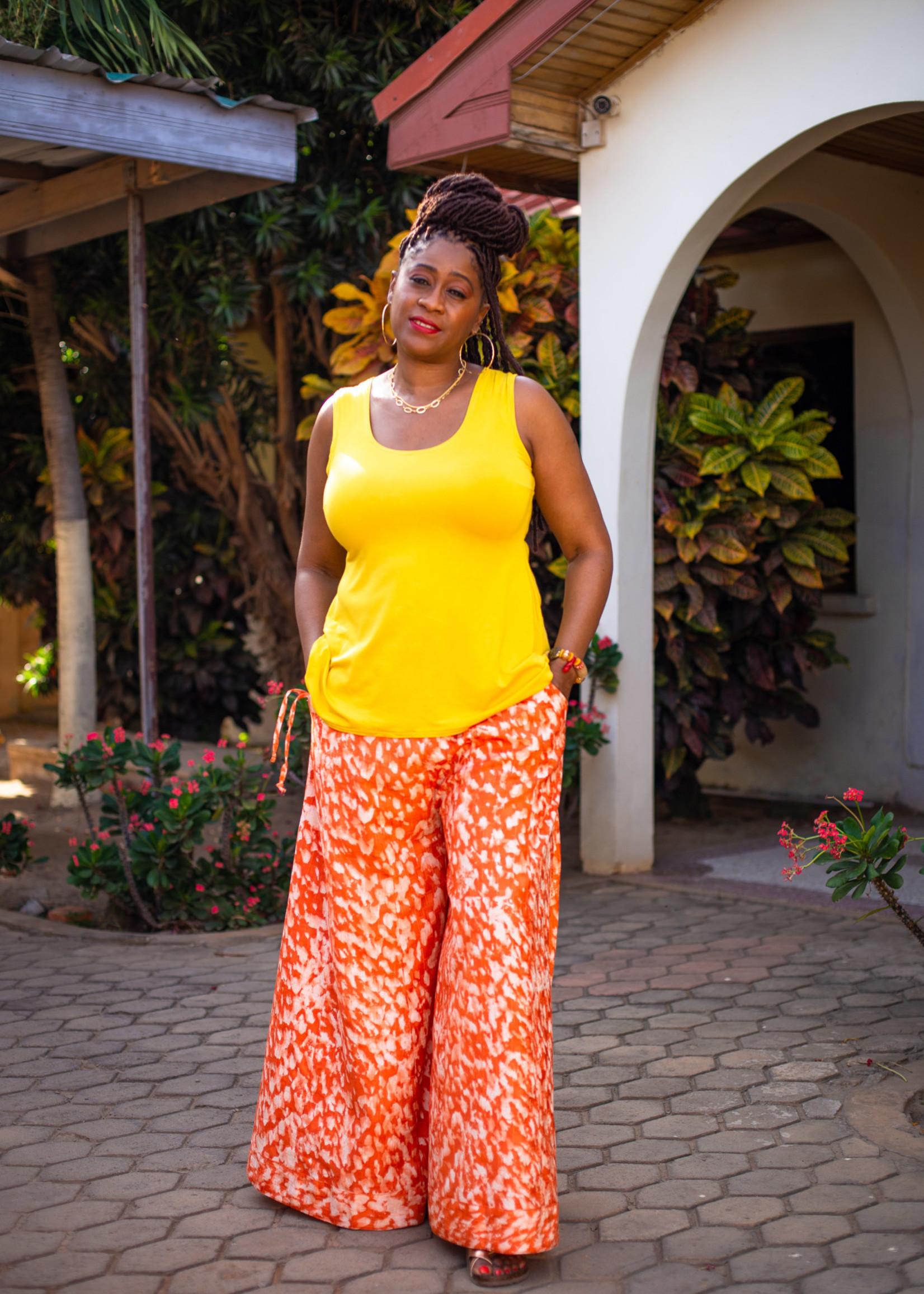 SARAH KUENYEFU EXTRA WIDE LEG BATIK PANTS