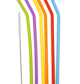 RSVP INTERNATIONAL INC SILI-10 special order RSVP Silicone Straws Large Different Colors + Cleaning Brush