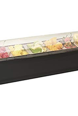 SWING-A-WAY / FOCUS PRODUCTS GROUP CC0008 Condiment Holder Black Tray w/ Six 1 Pint Inserts Roll Top