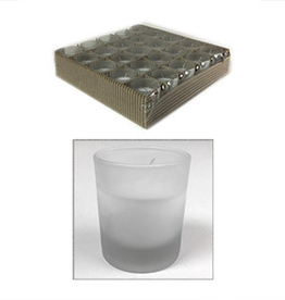 GENERAL WAX & CANDLE 2726FC GW Filled Frosted 25 ct Votive Candle 3 tray/case 75 pc/case