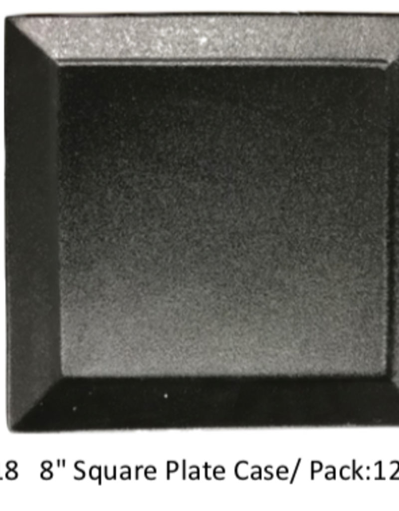 "UNIVERSAL ENTERPRISES, INC. BK-0018 8"" square plate Black 12/cs"
