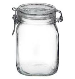 BORMIOLI ROCCO GLASS 149220 Bormioli Clear Fido Top Jar  1 L 33.75 oz clamp
