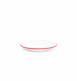 """CGS INT. V19RED Salad Plate 7.5"""" Solid White w/ Red"""