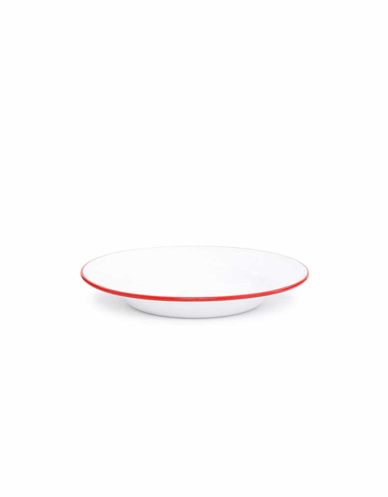 "CGS INT. Salad Plate 7.5"" Solid White w/ Red"