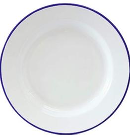 CGS INT. V20BLU Dinner 10.5 Plate Solid White w/ Blue Rim